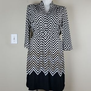 Chico's Black & White Herringbone Dress